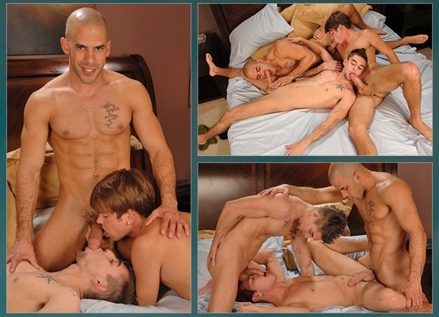 Austin Wilde, Johnny Torque and new boy Reed Royce raw bareback gay anal sex