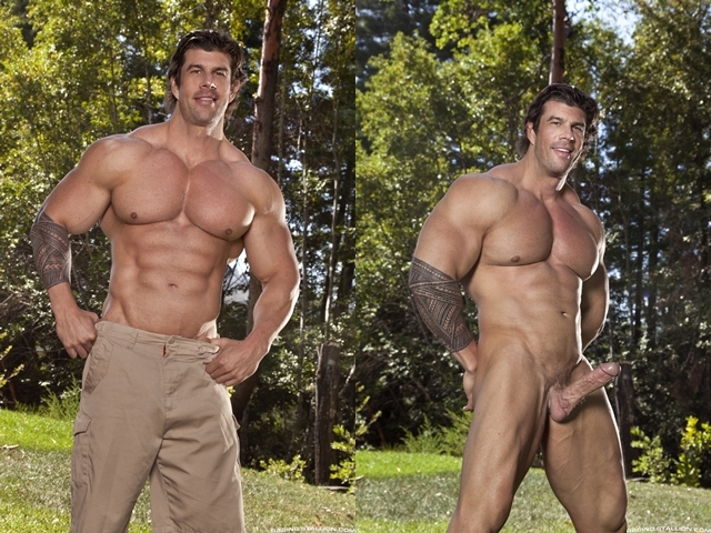 Nude Muscle stud ass fucking Zeb Atlas Raging Stallion 01 photo horz - Muscle hunks Jimmy Fanz and Zeb Atlas hard ass fucking at Raging Stallion