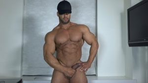TheGuySite muscleman Ty bodybuilding stud shower muscled thighs long uncut dick huge arms built hunk 001 tube video gay porn gallery sexpics photo 300x169 - Bridger Watts bends Alex Tanner A over fucking him from behind with his big dick
