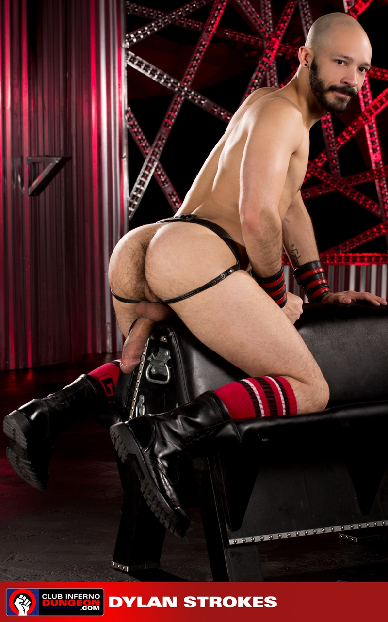 ClubInfernoDungeon pig Brian Bonds Dylan Strokes leather jock strap foreplay hand gloves lubes bottom fisting hungry asshole stroking huge dick 006 gay porn video porno nude movies pics porn star sex photo - Brian Bonds pushes his hungry hole back on both Dylan Strokes' hands