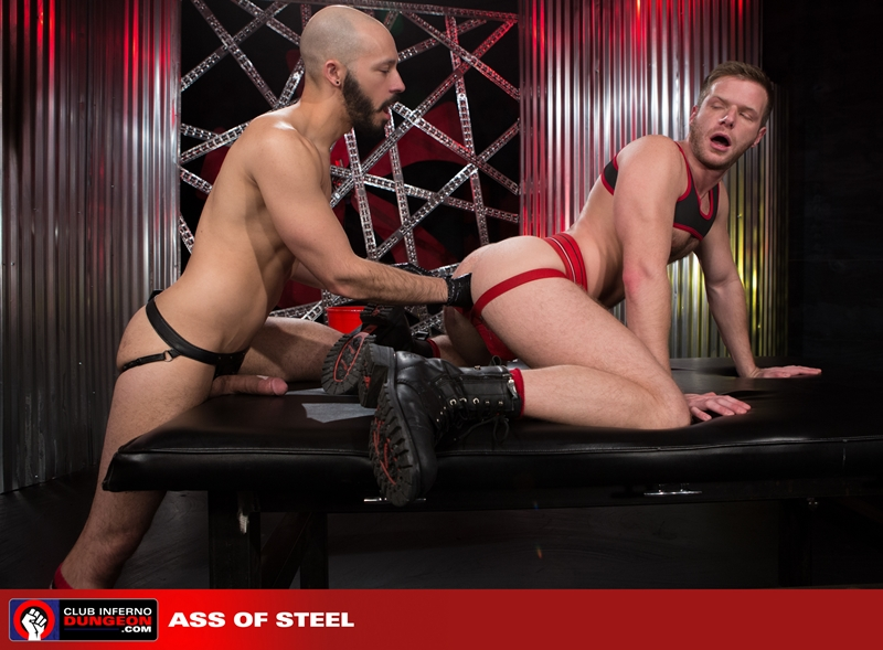 ClubInfernoDungeon pig Brian Bonds Dylan Strokes leather jock strap foreplay hand gloves lubes bottom fisting hungry asshole stroking huge dick 009 gay porn video porno nude movies pics porn star sex photo - Brian Bonds pushes his hungry hole back on both Dylan Strokes' hands