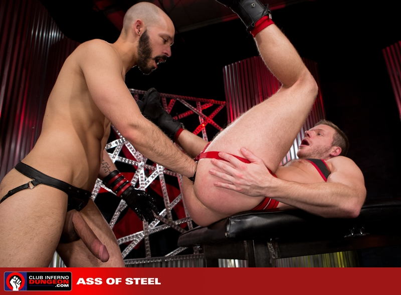 ClubInfernoDungeon pig Brian Bonds Dylan Strokes leather jock strap foreplay hand gloves lubes bottom fisting hungry asshole stroking huge dick 012 gay porn video porno nude movies pics porn star sex photo - Brian Bonds pushes his hungry hole back on both Dylan Strokes' hands
