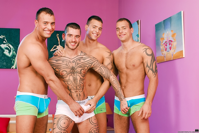 ViscontiTriplets Visconti Triplets handsome Joey Jimmy Jason tattooed Logan McCree eating dicks double dildo threesome brother 001 gay porn video porno nude movies pics porn star sex photo - Joey Visconti, Logan McCree, Jason Visconti and Jimmy Visconti
