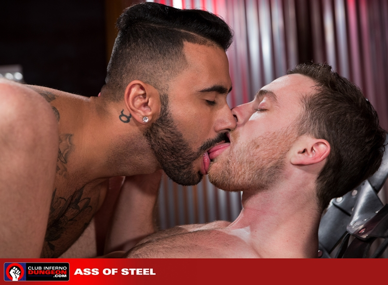 ClubInfernoDungeon Brandon Moore sling sexy Rikk York sex toy lube massage strokes ass man hole stretched ball gag fisting bottom 008 gay porn video porno nude movies pics porn star sex photo - Rikk York kisses Brandon Moore for being such an amazing fisting bottom