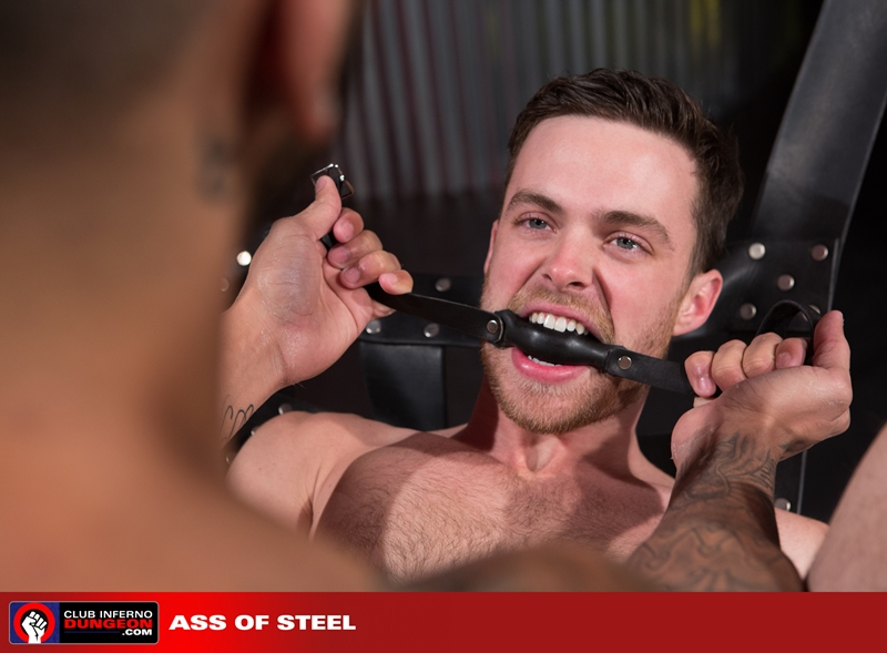 ClubInfernoDungeon Brandon Moore sling sexy Rikk York sex toy lube massage strokes ass man hole stretched ball gag fisting bottom 009 gay porn video porno nude movies pics porn star sex photo - Rikk York kisses Brandon Moore for being such an amazing fisting bottom