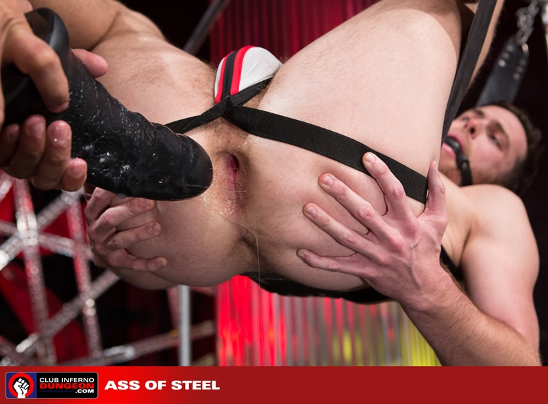 ClubInfernoDungeon Brandon Moore sling sexy Rikk York sex toy lube massage strokes ass man hole stretched ball gag fisting bottom 010 gay porn video porno nude movies pics porn star sex photo - Rikk York kisses Brandon Moore for being such an amazing fisting bottom