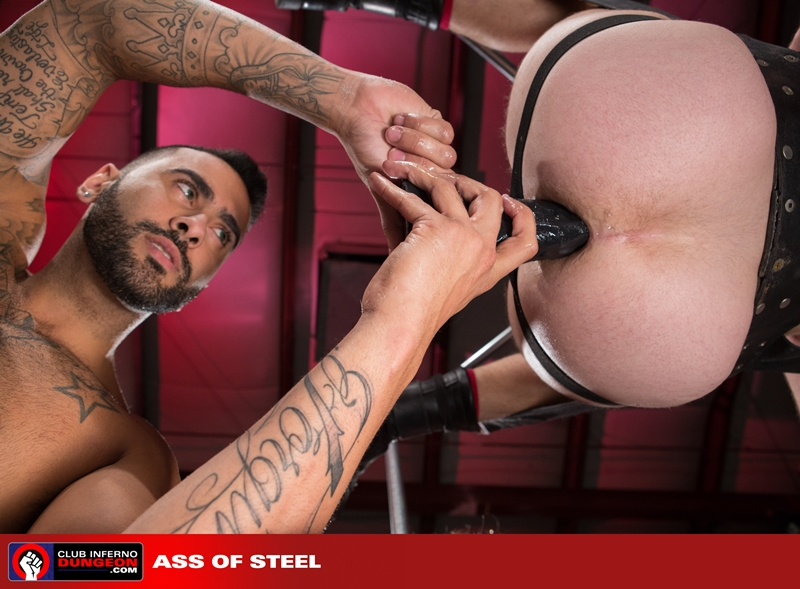 ClubInfernoDungeon Brandon Moore sling sexy Rikk York sex toy lube massage strokes ass man hole stretched ball gag fisting bottom 011 gay porn video porno nude movies pics porn star sex photo - Rikk York kisses Brandon Moore for being such an amazing fisting bottom