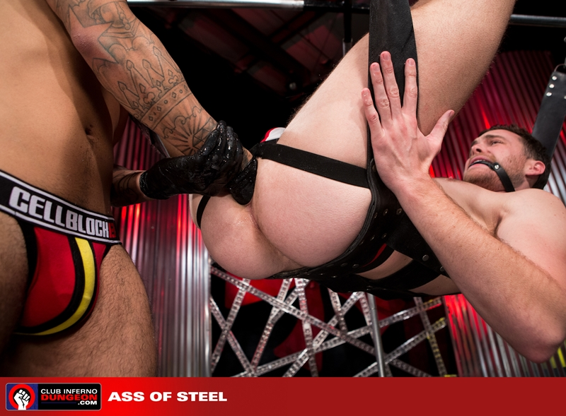 ClubInfernoDungeon Brandon Moore sling sexy Rikk York sex toy lube massage strokes ass man hole stretched ball gag fisting bottom 013 gay porn video porno nude movies pics porn star sex photo - Rikk York kisses Brandon Moore for being such an amazing fisting bottom