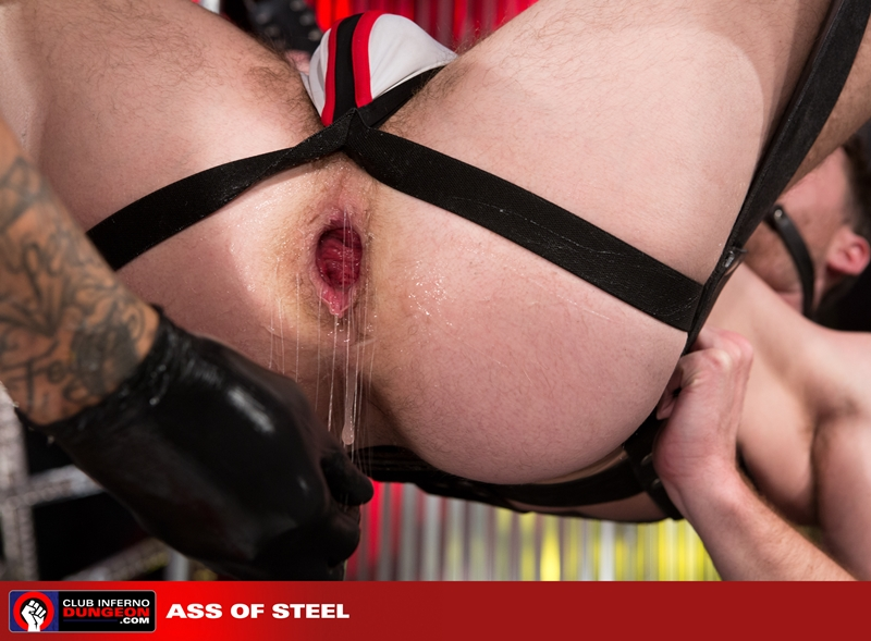 ClubInfernoDungeon Brandon Moore sling sexy Rikk York sex toy lube massage strokes ass man hole stretched ball gag fisting bottom 014 gay porn video porno nude movies pics porn star sex photo - Rikk York kisses Brandon Moore for being such an amazing fisting bottom
