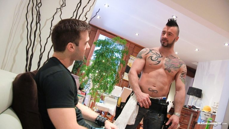 Maskurbate Gabriel Clark fucking ass rimming cocksucker Manuel Deboxer huge dick masked men gay sex mohawk shaved head tattoo hunk 001 gay porn video porno nude movies pics porn star sex photo 768x432 - Tattooed muscle hunk Manuel Deboxer fucks Gabriel Clark's tight asshole