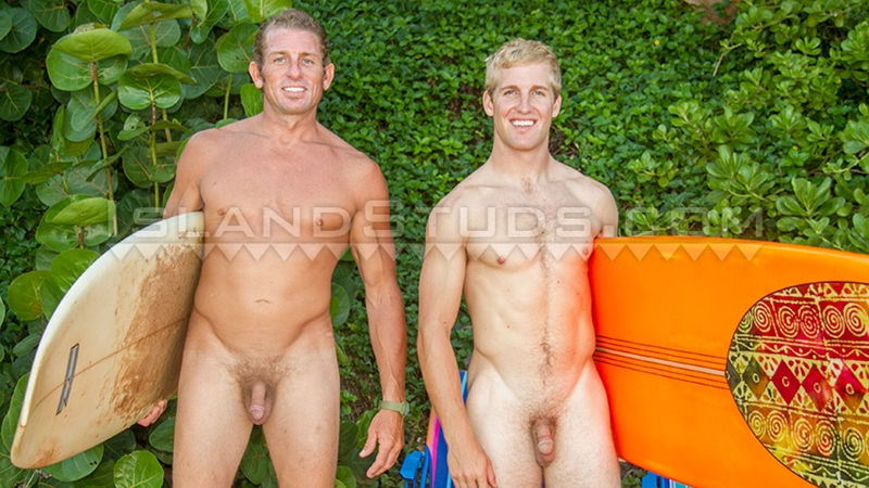 IslandStuds straight Nyles 9 inch cock Daddy Van Surf HUGE balls ripped college football big cock nut sack muscle jock naked young men 001 gay porn video porno nude movies pics porn star sex photo - Nyles and Daddy Van two straight surfer jocks playing football naked outside
