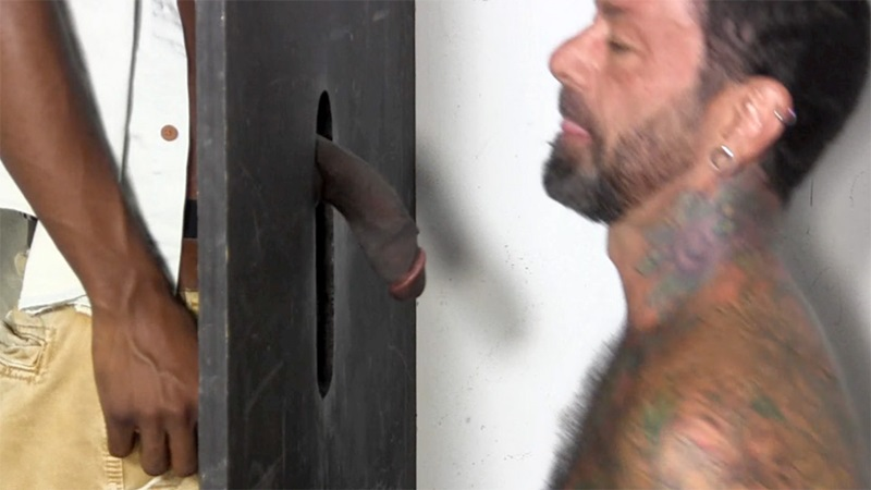Straight Joey's gloryhole deep throat cock sucking big black cock