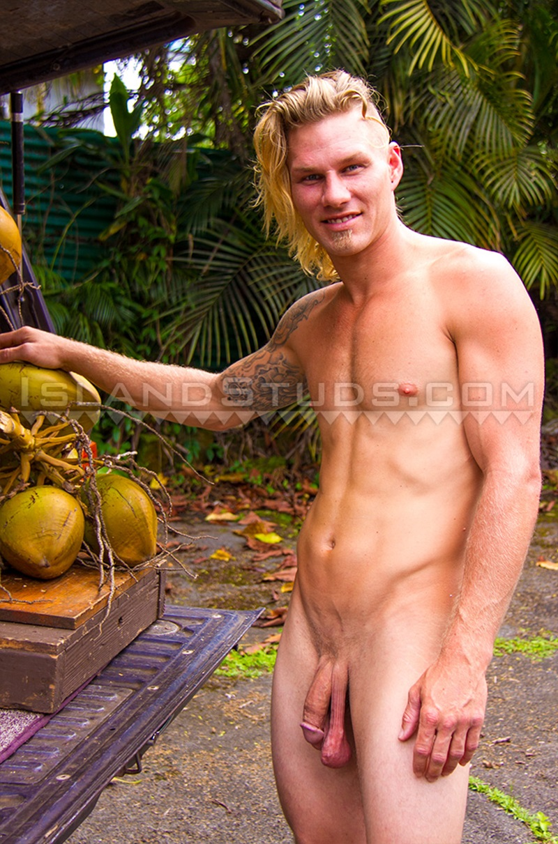 IslandStuds Coconut Calvin horse hung jock smooth muscle butt jerks massive hard cock nude young men sexy athlete bubble ass cheeks 02 gay porn star sex video gallery photo - Coconut Calvin jerks his massive hard cock while swimming naked