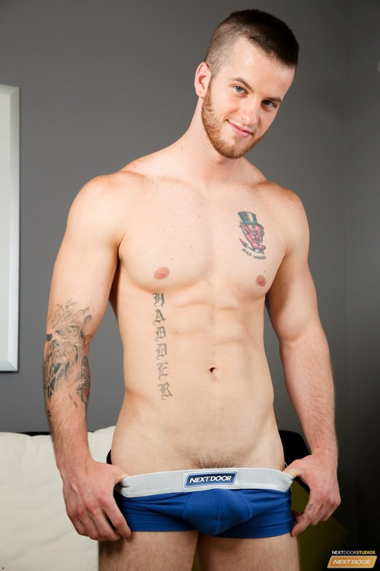 NextDoorCasting naked tattoo young men Markie More Quentin crotch bulge ass fucking huge dick reverse cowboy anal rimming cocksucker 02 gay porn star sex video gallery photo 768x1152 - Quentin drops to his knees as Markie More fucks his mouth just a little
