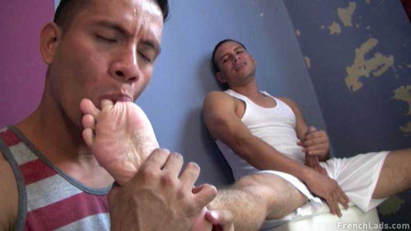 FrenchLads foot fetish horny hairy Latino young men licking sneaker toe sucking hole eaten deep rimming spanking butt ass fuck cum 01 gay porn star sex video gallery photo - Sleazy sneaker worship by Latino studs
