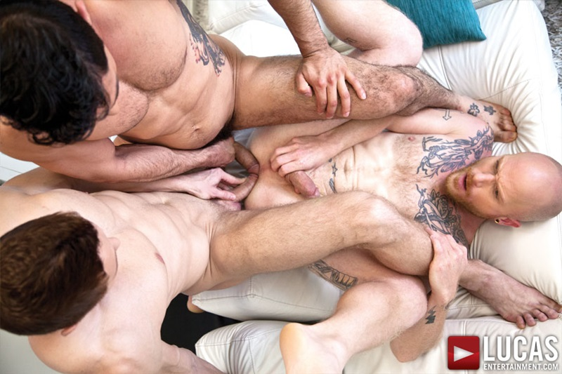 LucasEntertainment Brock Rustin suck Mikoah Kan Russian beauty Comrad Blu submissive bottom blowjobs cock fucks eats asshole ass rimming 01 gay porn star sex video gallery photo - Comrad Blu bareback ass fucking with Mikoah Kan and Brock Rustin
