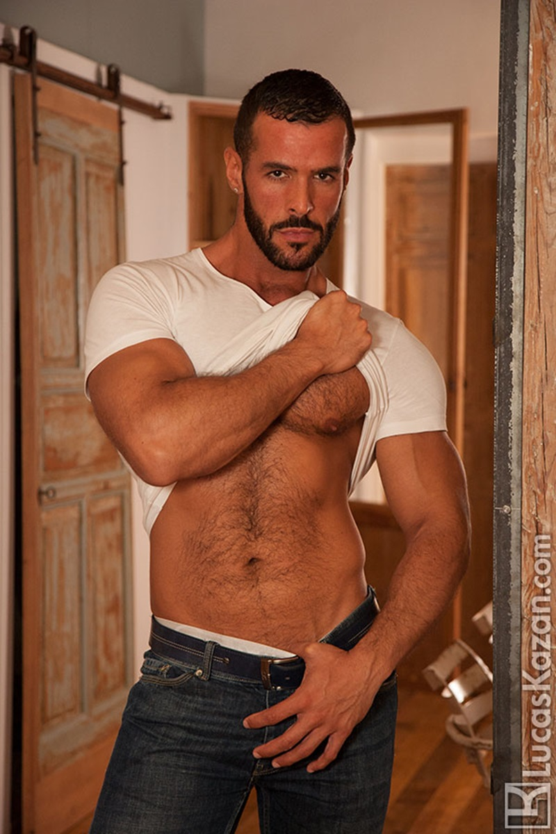 LucasKazan sexy Spanish muscle hunk Denis Vega hairy chest Spaniard real muscled man huge erect dick tanned dark hair ripped six pack abs 01 gay porn star sex video gallery photo - Swarthy hairy chested Spaniard Denis Vega