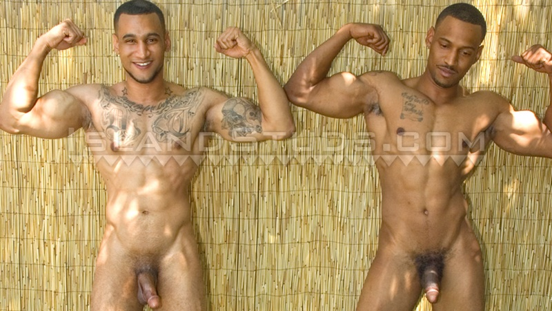 IslandStuds young sexy naked brothers Devon older bro Darius boxer shorts underwear big black athletic ass jerking huge cocks cumshot 001 gay porn sex gallery pics video photo - Straight brothers Devon and Darius jerking together