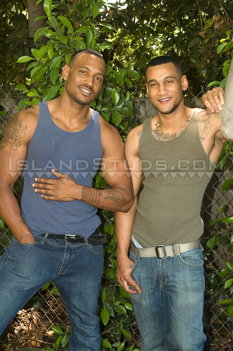IslandStuds young sexy naked brothers Devon older bro Darius boxer shorts underwear big black athletic ass jerking huge cocks cumshot 002 gay porn sex gallery pics video photo - Straight brothers Devon and Darius jerking together