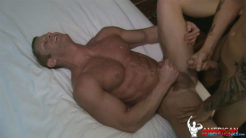 AmericanMuscleHunks sexy naked muscle men Seth Knight tattoo fucking Johnny V tight muscular ass huge cum orgasm muscled dudes 012 gay porn sex gallery pics video photo - Seth Knight finds it difficult to resist Johnny V's ass and bends him over the bed