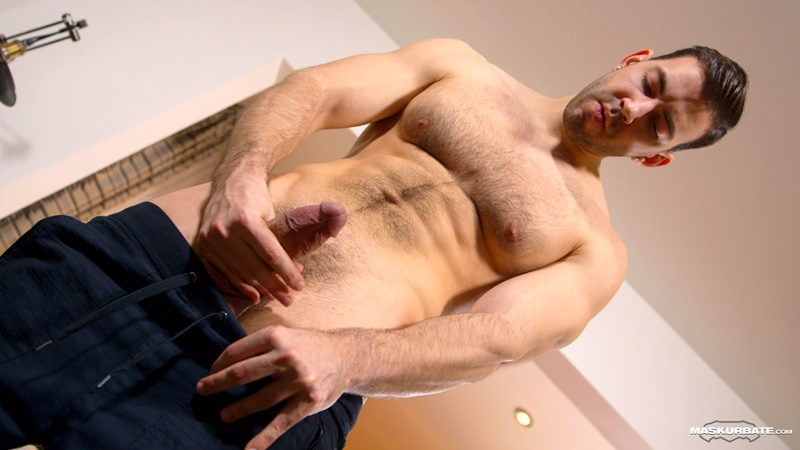 Maskurbate hairy chest naked muscle stud Nathan Topps ripped six pack abs huge thick large dick solo jerking stroking massive cumshot 001 gay porn sex gallery pics video photo - Hairy chest muscle hunk Nathan Topps jerks out a huge cumload