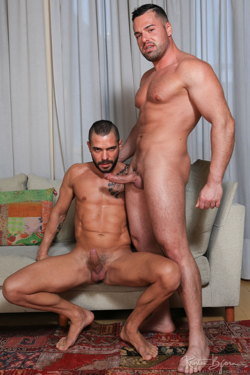 KristenBjorn nude big muscle dudes kissing Gabriel Lunna Cody Banx bare raw massive cock sucking bareback anal fuck flip cum shot 002 gay porn sex gallery pics video photo - Gabriel Lunna plunges his cock as deep as possible in Cody Banx's bare ass
