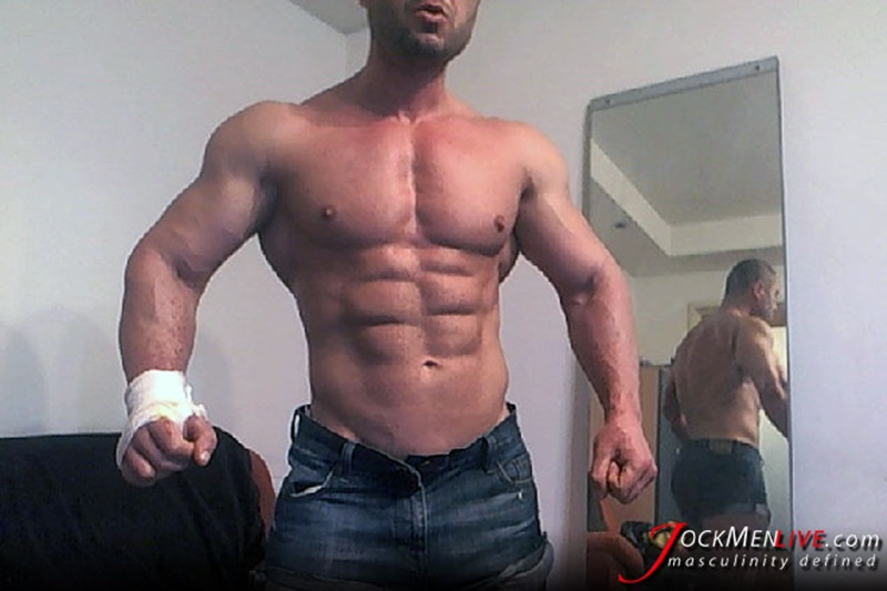 Jock Men Live ripped abs masculine vascular Emilio shows off the lot and more