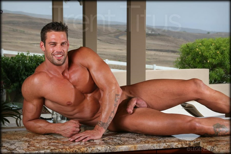 LegendMen ripped shredded six pack abs big muscle nude dude Trent Titus wanks huge thick long cock cum shot orgasm 001 gay porn sex gallery pics video photo - Legend Men Trent Titus strips and jerks his huge fat dick to a massive cum explosion