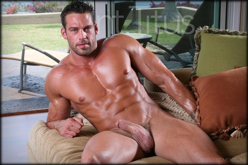 LegendMen ripped shredded six pack abs big muscle nude dude Trent Titus wanks huge thick long cock cum shot orgasm 003 gay porn sex gallery pics video photo - Legend Men Trent Titus strips and jerks his huge fat dick to a massive cum explosion