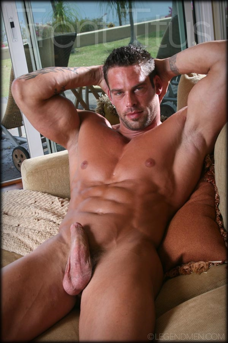 LegendMen ripped shredded six pack abs big muscle nude dude Trent Titus wanks huge thick long cock cum shot orgasm 006 gay porn sex gallery pics video photo - Legend Men Trent Titus strips and jerks his huge fat dick to a massive cum explosion