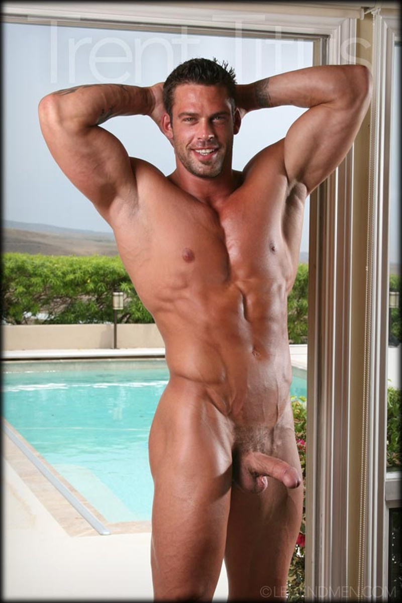 LegendMen ripped shredded six pack abs big muscle nude dude Trent Titus wanks huge thick long cock cum shot orgasm 008 gay porn sex gallery pics video photo - Legend Men Trent Titus strips and jerks his huge fat dick to a massive cum explosion