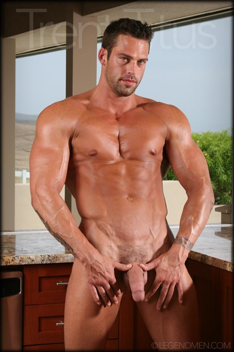LegendMen ripped shredded six pack abs big muscle nude dude Trent Titus wanks huge thick long cock cum shot orgasm 009 gay porn sex gallery pics video photo - Legend Men Trent Titus strips and jerks his huge fat dick to a massive cum explosion