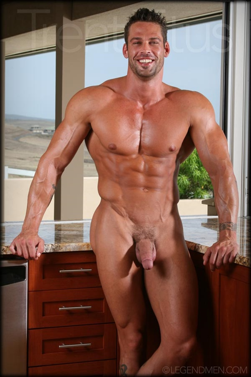 LegendMen ripped shredded six pack abs big muscle nude dude Trent Titus wanks huge thick long cock cum shot orgasm 010 gay porn sex gallery pics video photo - Legend Men Trent Titus strips and jerks his huge fat dick to a massive cum explosion