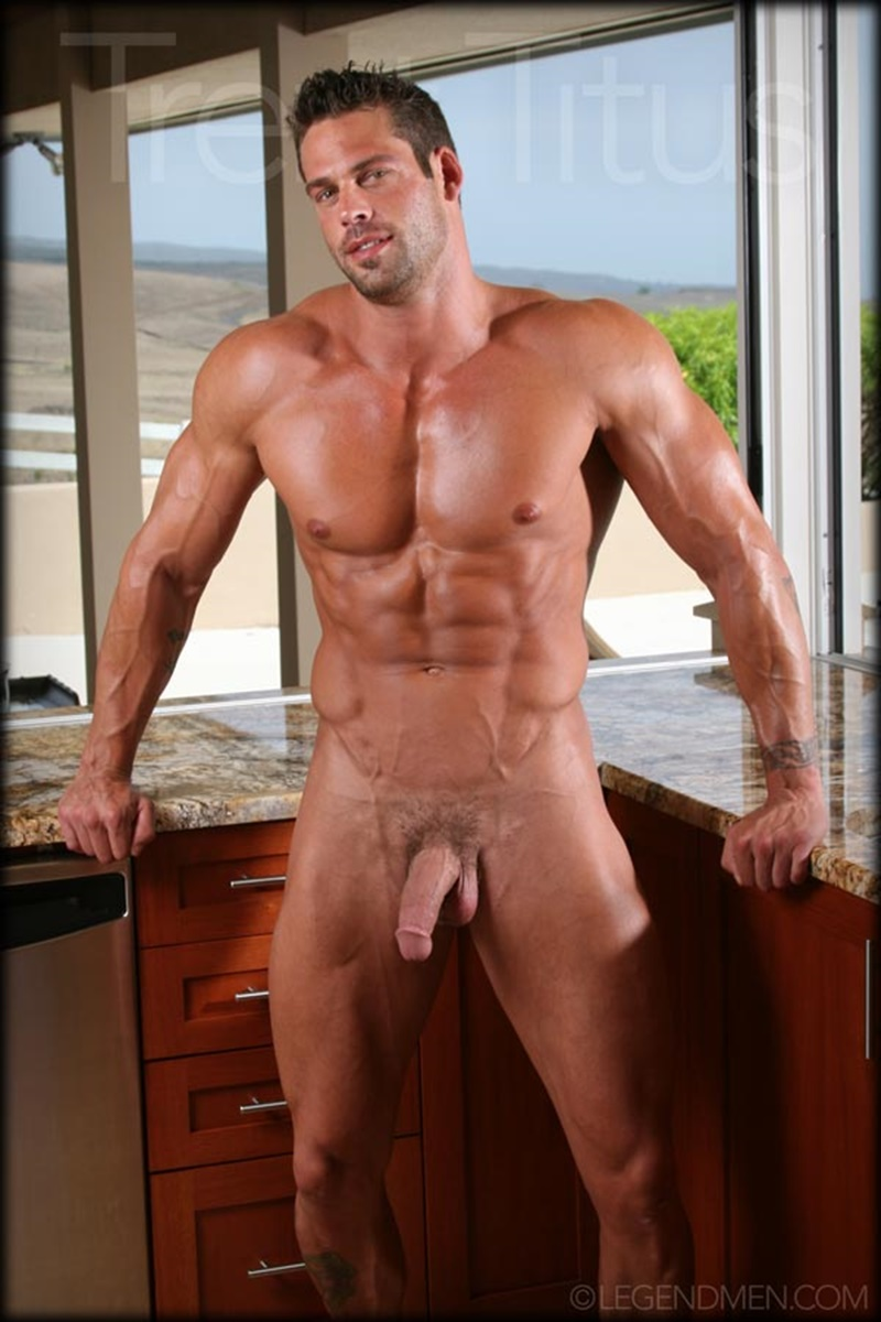 LegendMen ripped shredded six pack abs big muscle nude dude Trent Titus wanks huge thick long cock cum shot orgasm 011 gay porn sex gallery pics video photo - Legend Men Trent Titus strips and jerks his huge fat dick to a massive cum explosion