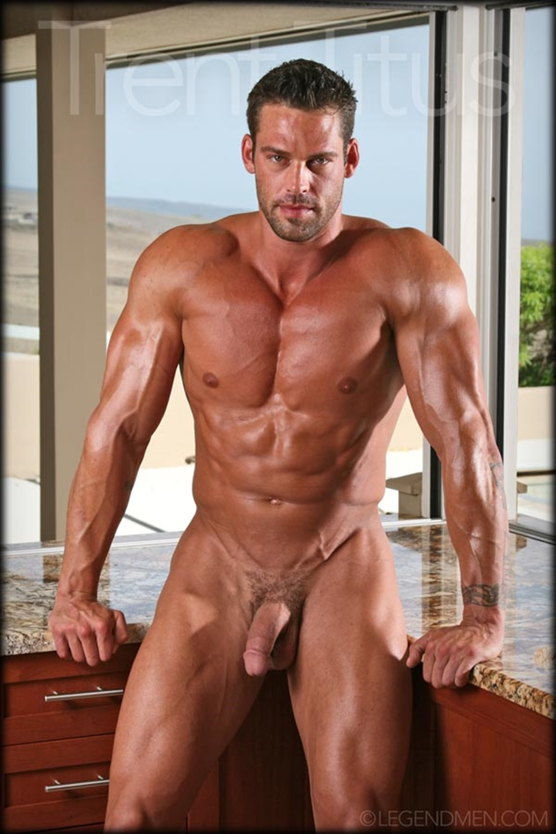 LegendMen ripped shredded six pack abs big muscle nude dude Trent Titus wanks huge thick long cock cum shot orgasm 012 gay porn sex gallery pics video photo - Legend Men Trent Titus strips and jerks his huge fat dick to a massive cum explosion