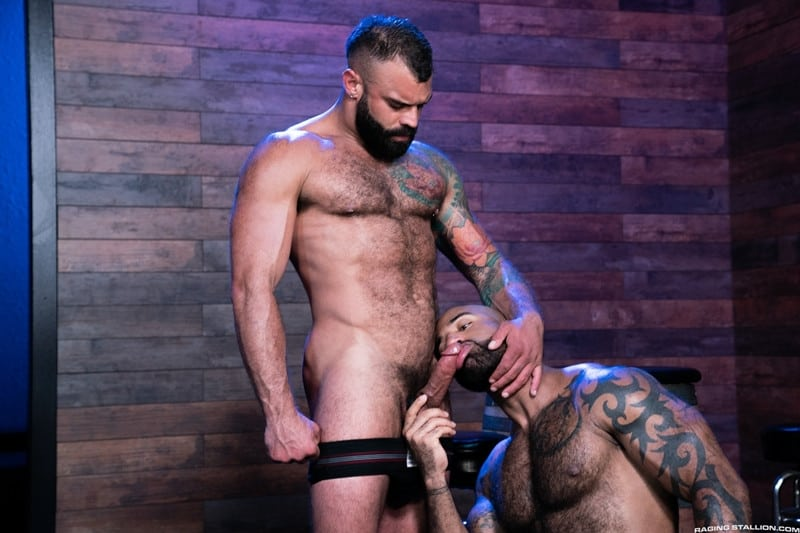 RagingStallion Daymin Voss Drake Masters hairy body massive cock bulge big thick hardcore anal fucking cocksuckers 001 gay porn pictures gallery - Daymin Voss can't resist touching Drake Masters' rock-hard hairy body reaching down to grope his massive cock bulge