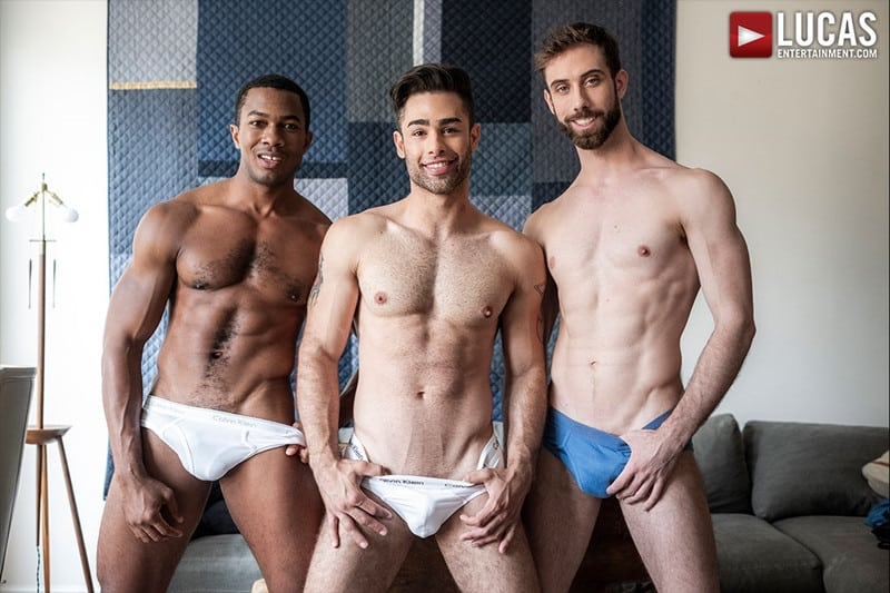 JASON COX LUCAS LEON SEAN XAVIER MONSTER BLACK DICK big muscle threesome LucasEntertainment 001 gay porn pictures gallery - Hot muscle dudes Jason Cox and Lucas Leon double fucked by Sean Xavier