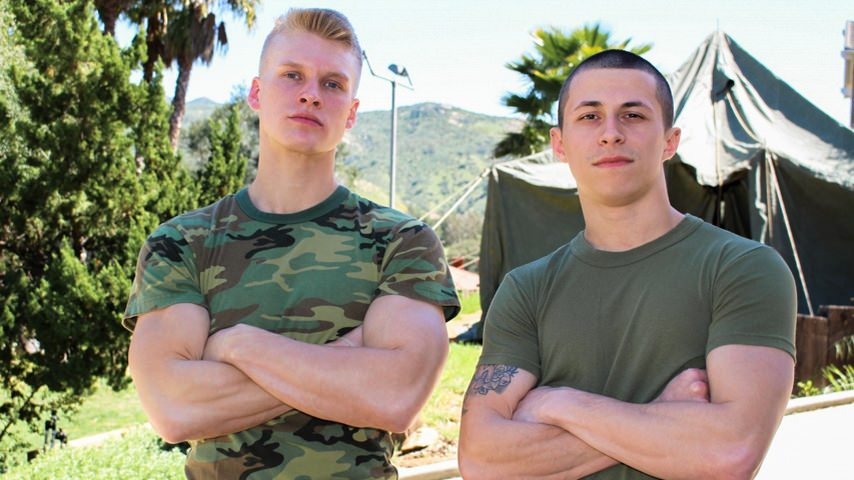 75477 01 01 - Hot young army recruits Bradley Hayes and Blake Effortley flip flop virgin ass fucking