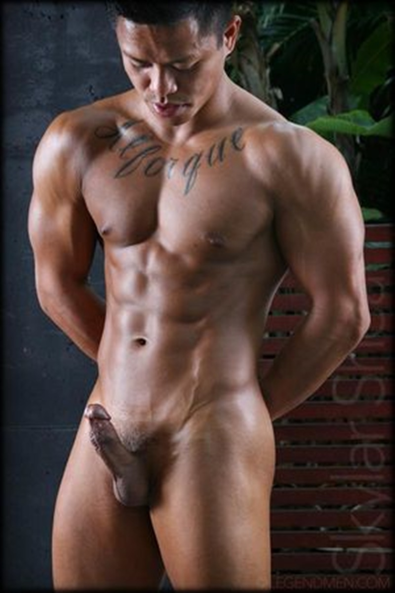 LegendMen sexy big black muscle nude bodybuilder Skylar Shea huge ebony dick ripped six pack abs tattoo smooth chest arms 004 gay porn sex gallery pics video photo - Gorgeous big muscle boy Skylar Shea packs out his assless jockstrap
