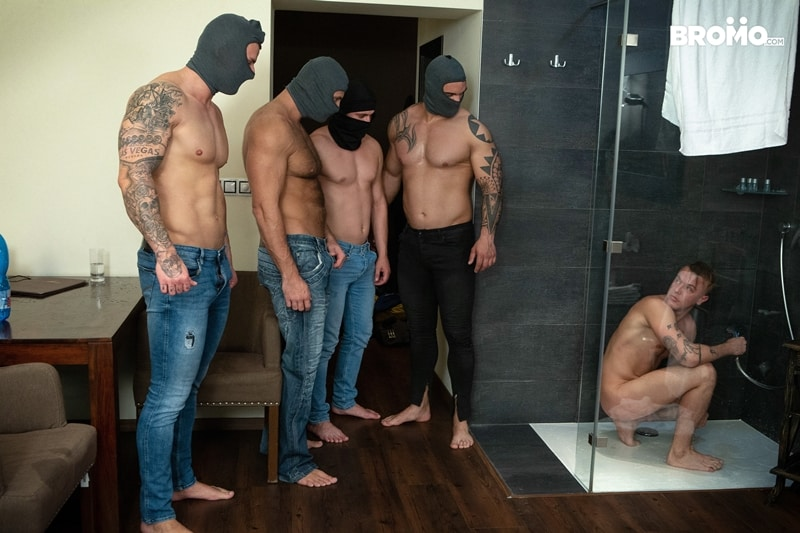 Bromo Hot naked sub dude four masked men bareback fucking ass holes 001 gay porn pictures gallery - Hot naked sub dude passed around four masked men filling his holes
