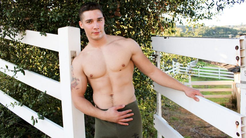 76323 01 01 - Spencer Laval sucks down hard on hot young soldier Bradley Hayes' big dick