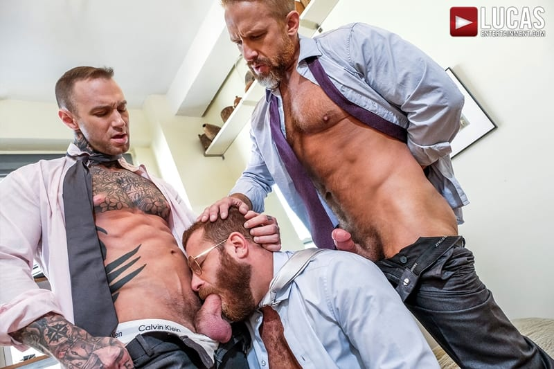 Riley Mitchel services his bosses Dylan James and Dirk Caber LucasEntertainment 001 Gay Porn Pics - Riley Mitchel services his bosses Dylan James and Dirk Caber
