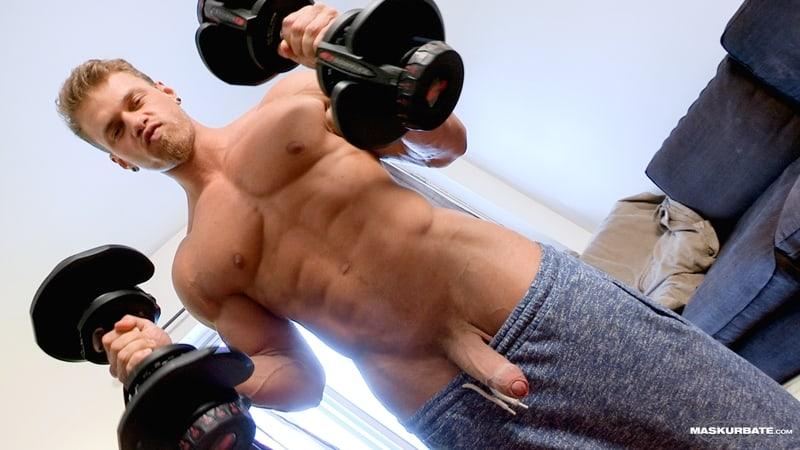 Big muscle man Maskurbate Brad strips naked jerking huge uncut dick cum 001 Gay Porn Pics - Big muscle man Maskurbate Brad strips naked jerking his huge uncut dick to a fountain of cum all over himself