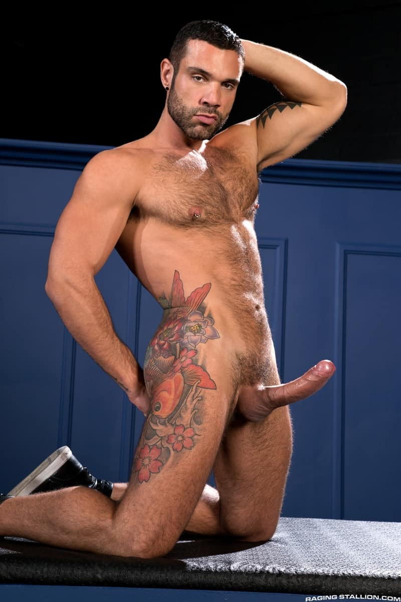 Brenner Bolton stretches foreskin Letterio Amadeo big curved cock sucking RagingStallion 008 Gay Porn Pics - Brenner Bolton stretches the foreskin on Letterio Amadeo's meaty curved cock before sucking it