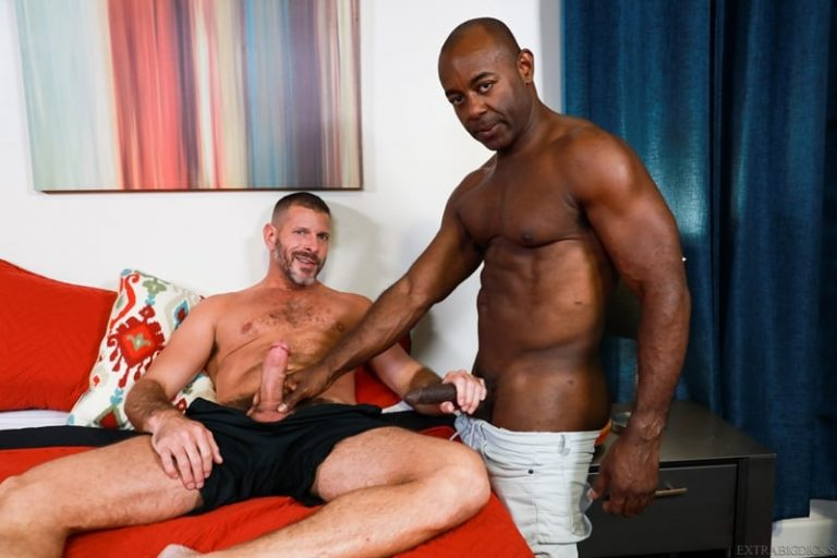 Ebony muscle hunk Aaron Trainer big black cock Clay Towers tight ass 001 porn pics gay 768x512 - Ebony muscle hunk Aaron Trainer pushes his big black cock into Clay Towers' tight ass