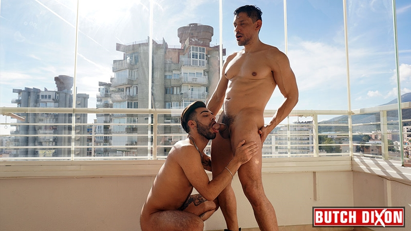 Tanned hunk Yah Jil's big thick uncut dick bareback fucking John Rodriguez's hot muscle hole