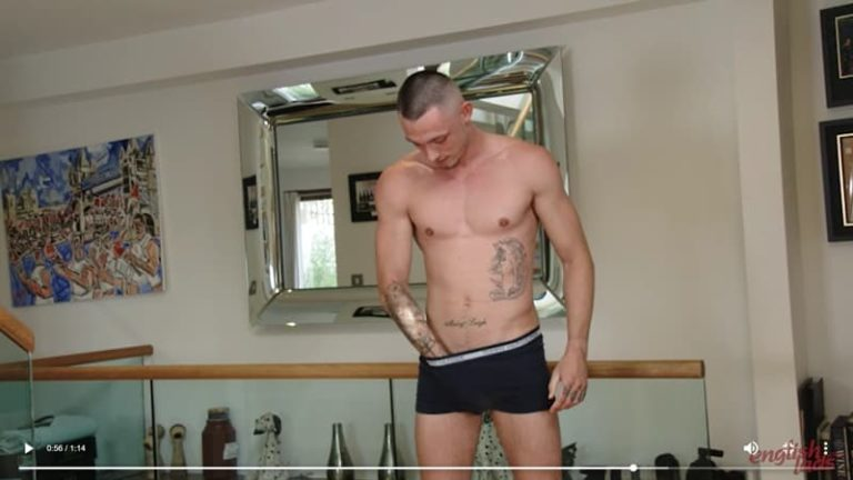 Sexy tattooed English straight boxer Dave Loxley strips naked kit wanking big uncut cock 001 gay porn pics 768x432 - Sexy tattooed English straight boxer Dave Loxley strips our of his kit wanking his big uncut cock