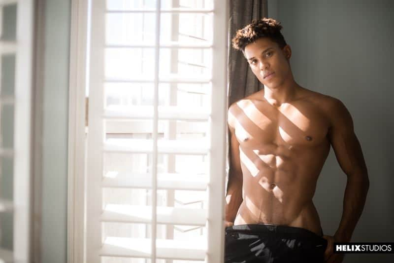 Hot ripped young black twink Damien Ellis strips naked jerking his huge thick ebony dick to a massive cum explosion