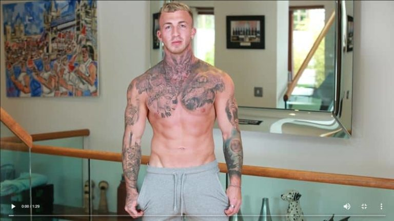 Hot tattooed straight muscle hunk Nathan Harris strips naked jerking huge uncut dick massive load cum 001 gay porn pics 768x432 - Hot tattooed straight muscle hunk Nathan Harris strips naked jerking his huge uncut dick to a massive load of cum