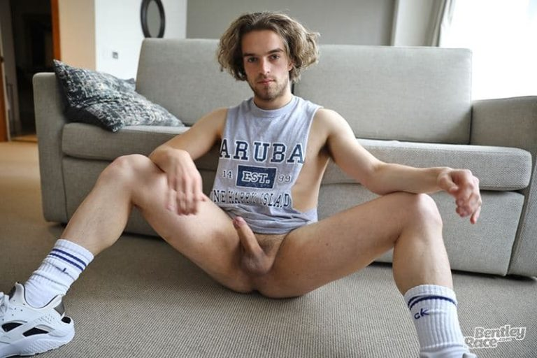 Young curly haired Aussie boy Reece Anderson strips naked shiny shorts muscle t shirt jerking huge uncut dick 001 gay porn pics 768x512 - Young curly haired Aussie boy Reece Anderson strips out of his shiny shorts and muscle t-shirt jerking his huge uncut dick